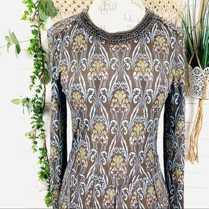 Tory Burch long sleeve print dress size M